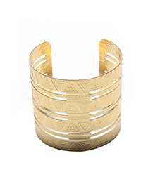 Fashion Gold Color Pure Color Design Hollow Out Opening Bracelet