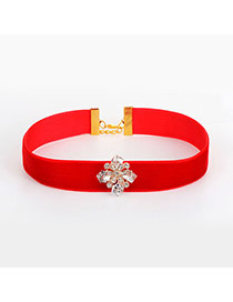 Fashion Red Diamonds Decorated Flower Shape Pure Color Necklace