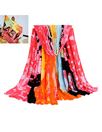 Fashion Multi-color Printing Flower Pattern Decorated Color Matching Scarf