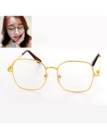 Fashion Gold Color Square Shape Frame Decorated Simple Glasses
