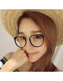 Elegant Black Round Frame Decorated Color Matching Glasses