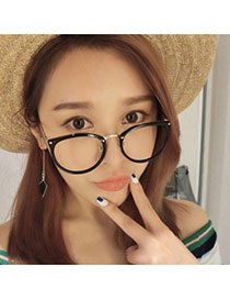 Elegant Black Color Matching Design Round Frame Simple Glasses