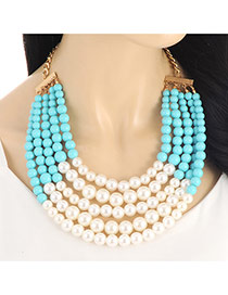 Fashion Green Pearls Decorated Multi-layer Color Matching Necklace