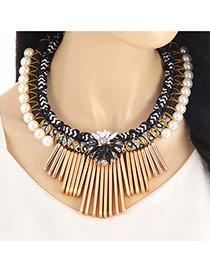 Fashion Black Vertical Shape&pearls Decorated Multi-layer Collar Necklace