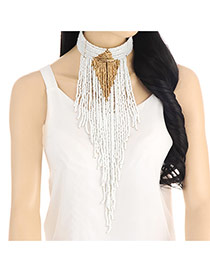 Fashion White Beads Tassel Pendant Decorated Collar Necklace