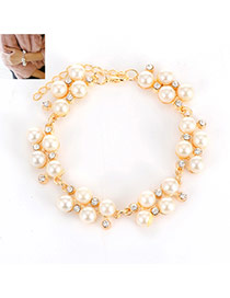 Fashion Gold Color Pears&diamond Decorated Simple Bracelet