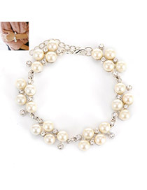 Fashion Silver Color Pears&diamond Decorated Simple Bracelet