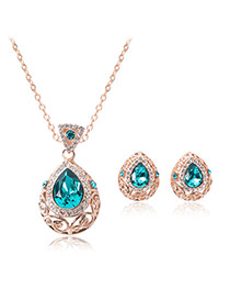 Fashion Blue Water Drop Shape Diamond Pendant Decorated Simple Jewelry Sets(2pcs)