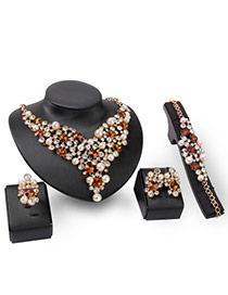 Exaggerated Champagne Pearls&diamond Decorated Hollow Out Design Jewelry Sets