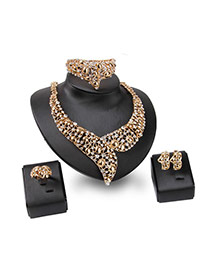 Fashion Gold Color Diamond Decorated Hollow Out Design Jewelry Sets
