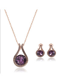Fashion Purple Round Shape Diamond Pendant Decorated Jewelry Sets (2pcs)