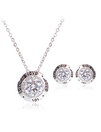 Fashion Silver Color Letter Love Pattern Decorated Round Shape Jewelry Sets (2pcs)