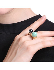 Fashion Gold Color+blue+black Two Pearls Decorated Irregular Shape Simple Ring