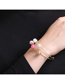 Personalized Multi-color Pearls Decorated Double Layer Simple Bracelets