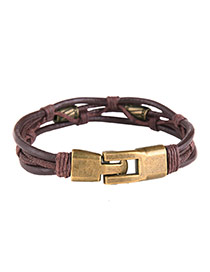 Vintage Dark Red Metal Buckle Decorated Multi-layer Simple Bracelet