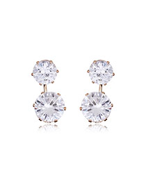 Elegant Gold Color Round Shape Diamond Decorated Symmetric Simple Earrings