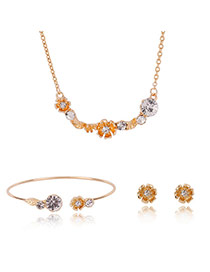 Fashion Gold Color Round Shape Diamond Decorated Flower Shape Jewelry Sets (3pcs)