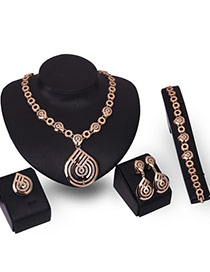 Fashion Gold Color Diamond Decorated Hollow Out Irregular Shape Jewelry Sets