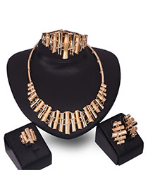 Fashion Gold Color Diamond Decorated Irregular Shape Jewelry Sets (4pcs)