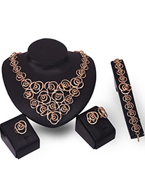 Fashion Gold Color Hollow Out Design Pure Color Simple Jewelry Sets (4pcs)
