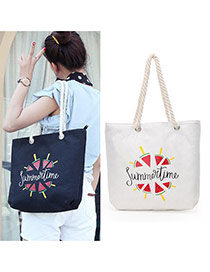 Fashion White Watermelon Pattern Decorated Square Shape Canvas Bag
