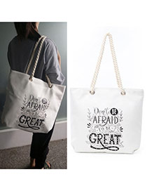 Fashion White Letter Great Pattern Decorated Square Shape Canvas Bag