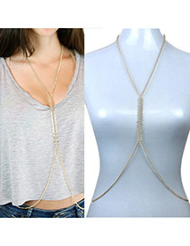 Fashion Gold Color Leaf Shape Decorated Pure Color Body Chain