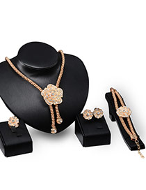 Fashion Gold Color Diamond Decorated Flower Shape Jewelry Sets (4pcs)