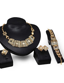Fashion Gold Color Irregular Shape Decorated Hollow Out Design Jewelry Sets (4pcs)