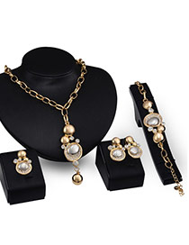 Fashion Gold Color Round Ball&diamond Pendant Decorated Simple Jewelry Sets