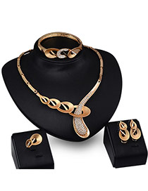 Exaggerated Gold Color Diamond Decorated Hollow Out Irregular Shape Simple Jewelry Sets (4pcs)