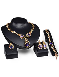 Exaggerate Gold Color+purple Sound Shape Diamond Decorated Simple Jewelry Sets