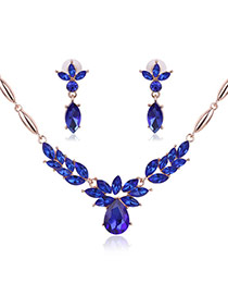 Fashion Blue Oval Diamond Pendant Decorated Short Chain Jewelry Sets
