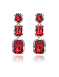 Vintage Red Square Shape Diamond Decorated Long Earrings