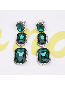 Vintage Green Square Shape Diamond Decorated Long Earrings