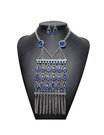 Fashion Blue Oval Diamond Decorated Hollow Out Tassel Necklace