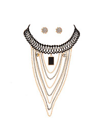 Fashion Black Square Shape Pendant Decorated Tassel Jewelry Sets (with Earrings )