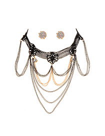 Fashion Black Flower Decorated Chain Tassel Hollow Out Jewelry (with Earrings )