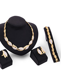 Luxury Gold Color Diamond& Leaf Shape Decorated Simple Design Jewelry Sets