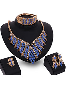 Fashion Multi-color Bead&diamond Decorated Hollow Out Simple Design Jewelry Sets