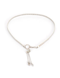 Delicate Silver Color Metal Fish Pendant Decoarted Tassel Simple Belt