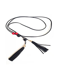 Bohemia Black Tassel &round Shape Decorated Simple Belt