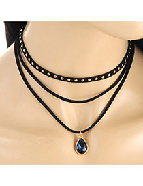 Elegant Sapphire Blue Waterdrop Shape Pendant Decorated Multilayer Necklace