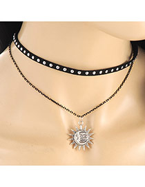 Elegant Black Sun Shape Pendant Decorated Doublelayer Necklace