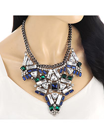 Exaggerate Blue Geometric Shape Diamond Decorated Short Chain Necklace