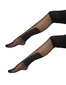 Sexy Black Big Patch Shape Decorated Pure Color Silk Stockings