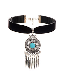 Retro Silver Color Round Shape Pendnat Decorated Tassel Choker