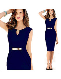 Trendy Sapphire Blue O Neckline Decorated Sleevess Pure Color Dress