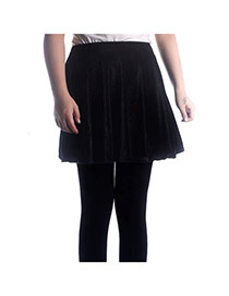 Fashion Black Pure Color Decorated Simple Short Pleated Skirt
