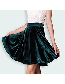 Trendy Dark Green Pure Color Decorated Simple Short Pleated Skirt